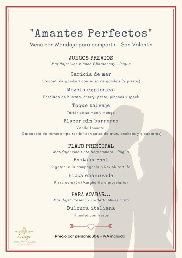 Menu San Valentin - Luigi Ristorante