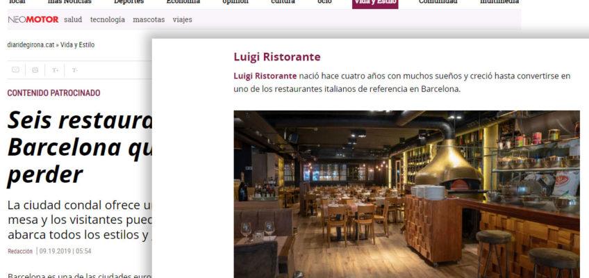 Luigi entre los 6 restaurantes de Barcelona recomendados por el Diari de Girona
