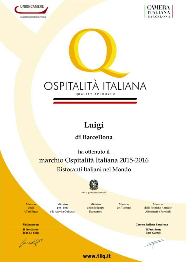 Luigi Ristorante obtiene la marca de Ospitalità Italiana